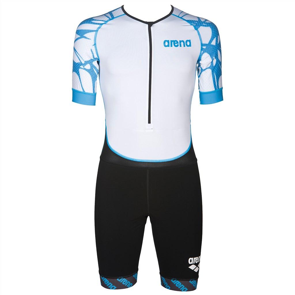 Arena - M Trisuit St Aero Front Zip - black/white/aqua blue