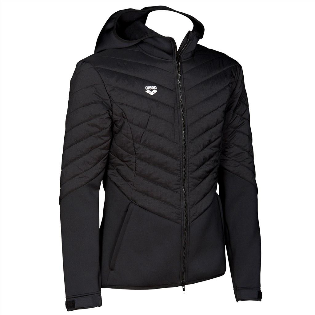 Arena - Hooded F/Z Half-Quilted Jacket - black