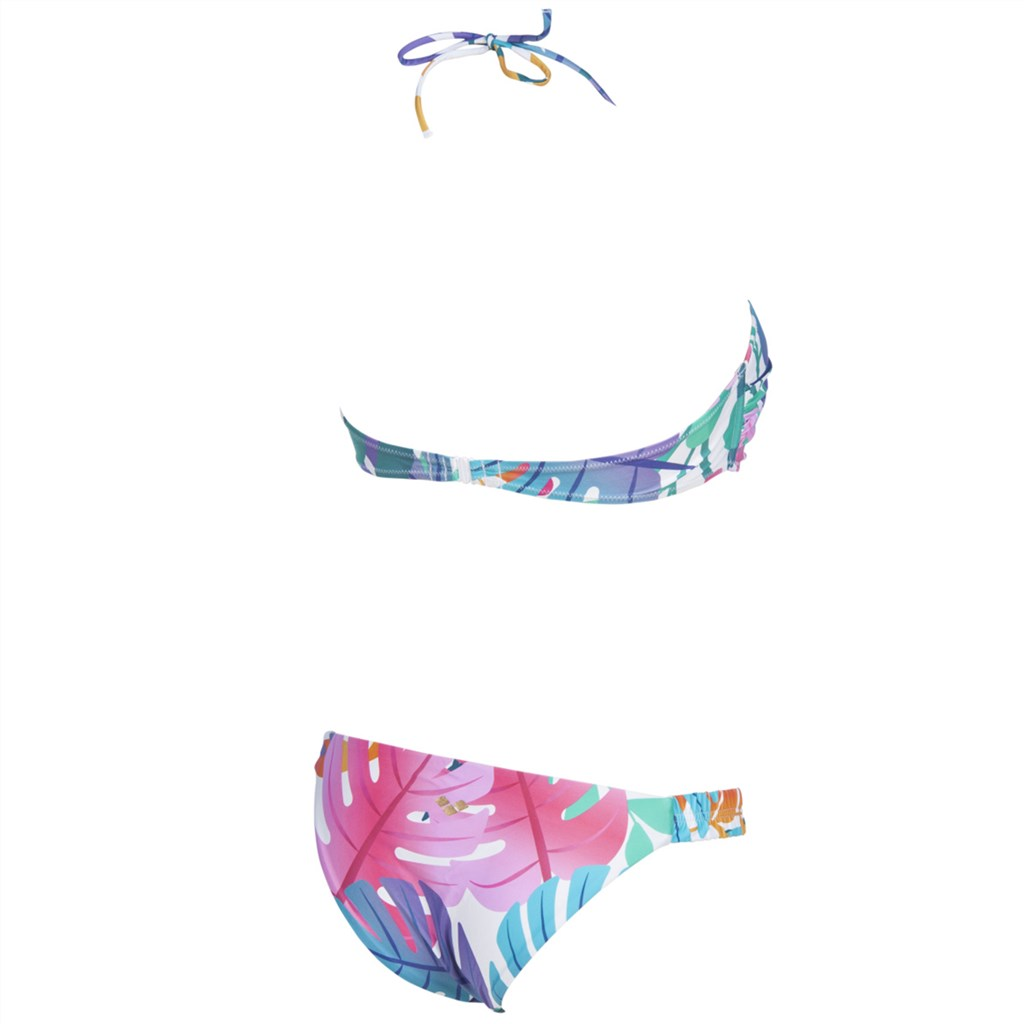 Arena - W Allover Bandeau Two Pieces - pink flambe multi