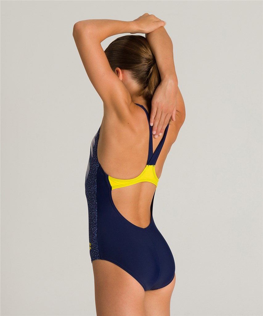 Arena - G Funny Letters Jr V Back One Piece - navy/yellow star