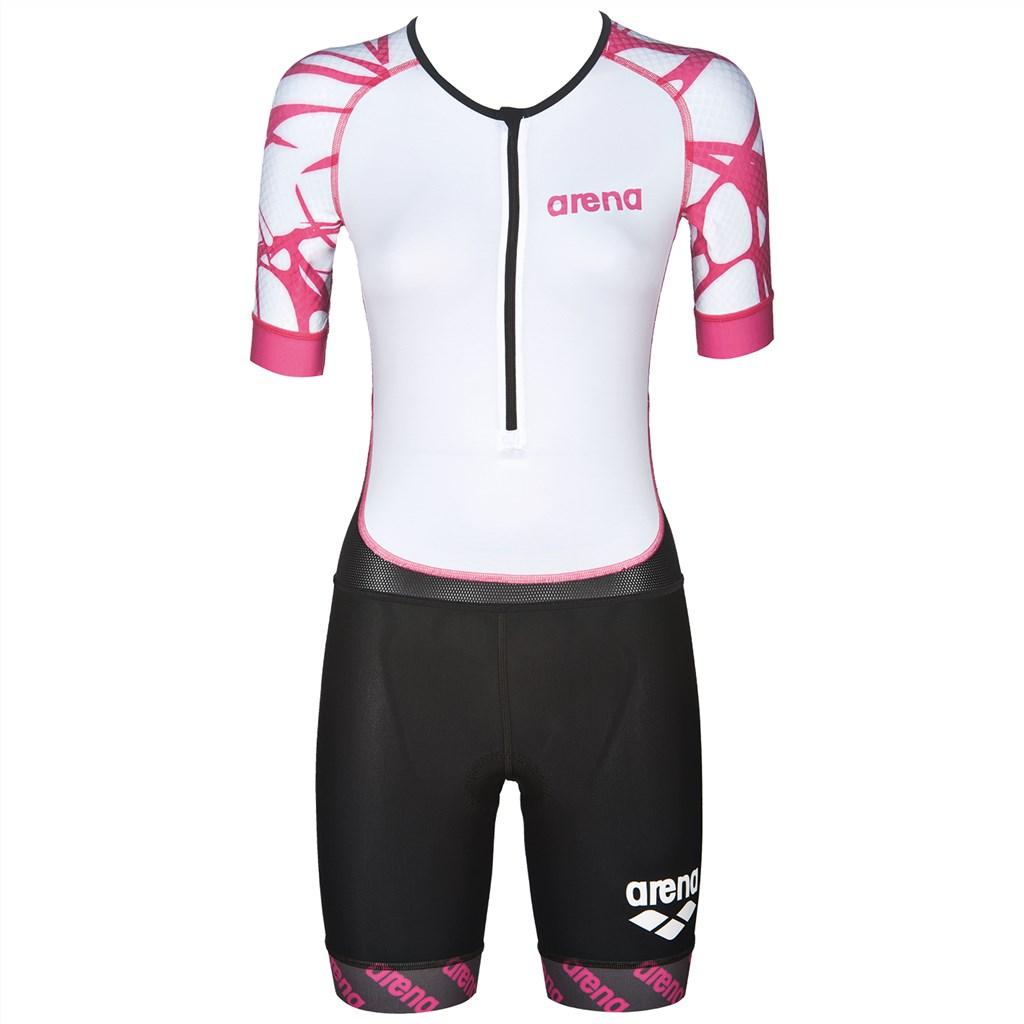 Arena - W Trisuit St Aero  Front Zip - black/white/fuchsia