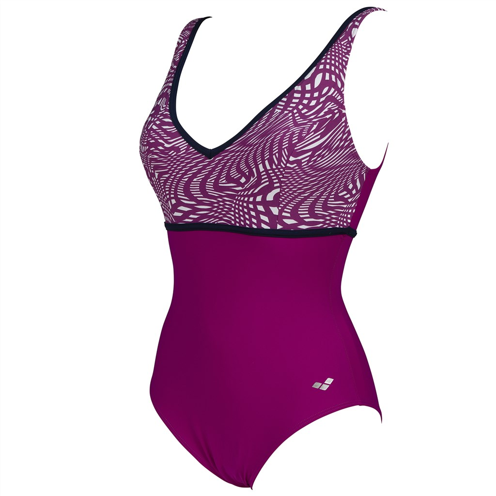 Arena - W Clara Wing Back One Piece C-Cup - grape violet/grape violet multi/navy