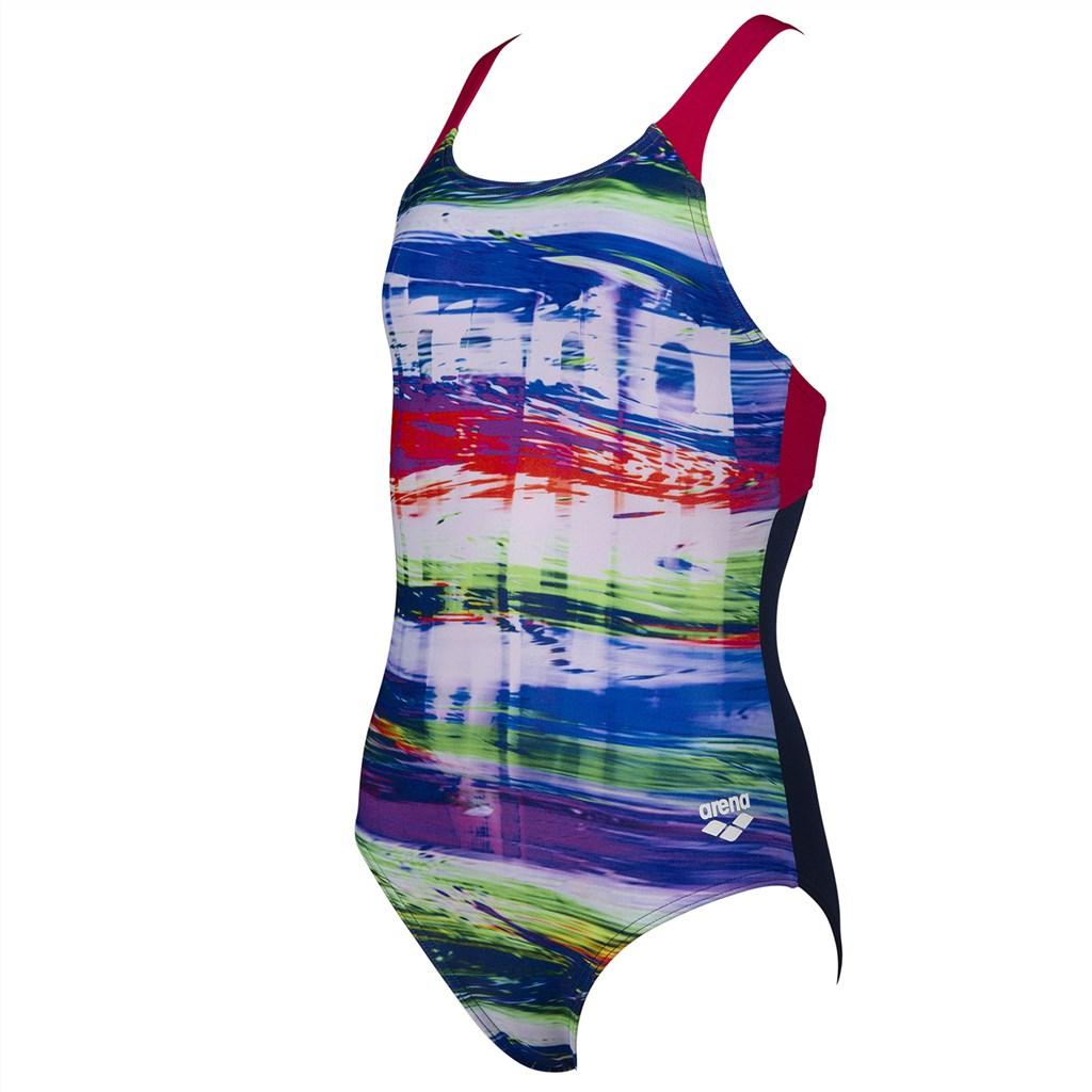 Arena - G Rainbow Colors Jr Swim Pro Back One Piece - navy/freak rose