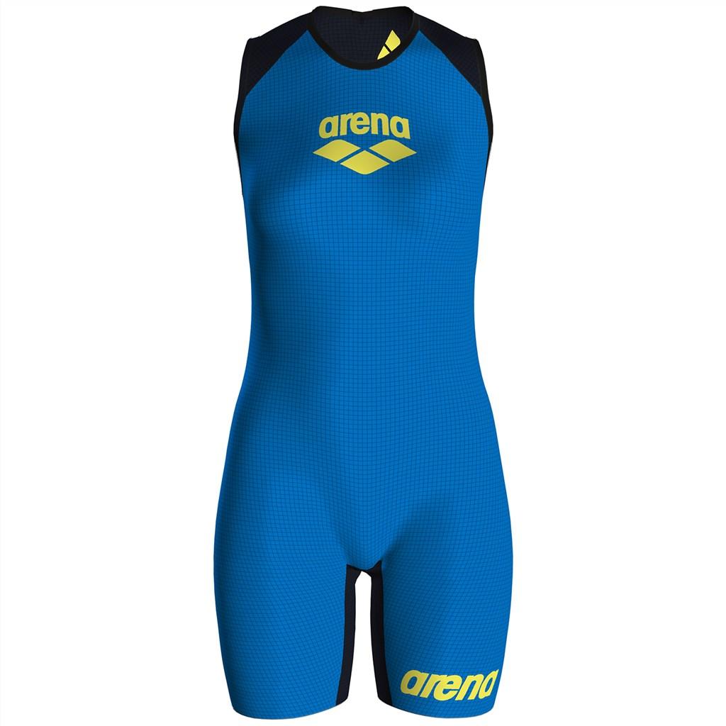 Arena - W Pwskin Carbon Speedsuit Rear Zip - fast blue/grey